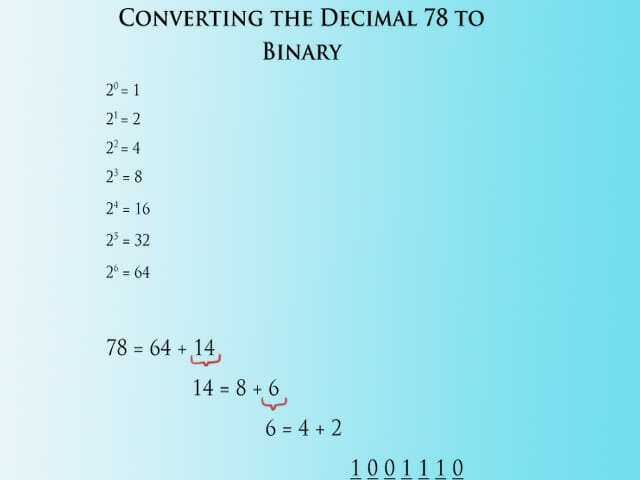 Converting 78 to Binary - Step 2
