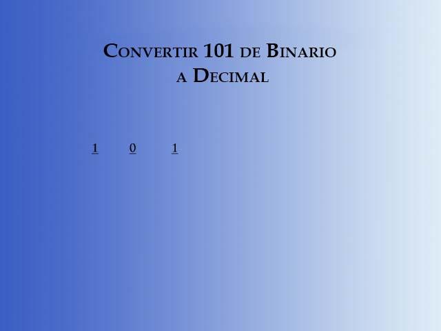 Paso 1 para convertir de binario a decimal