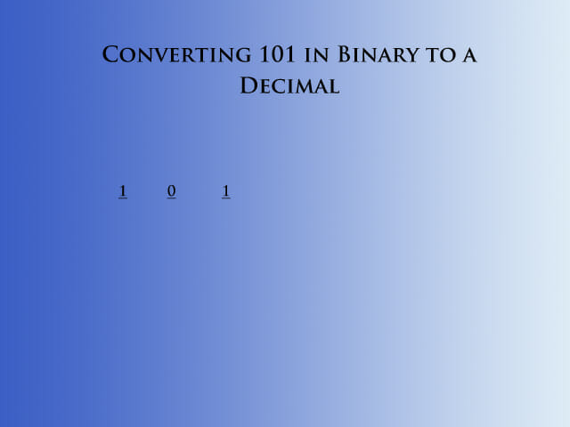 Step 1 in converting binary to decimal
