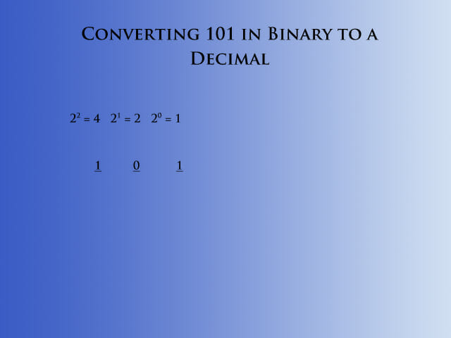 Converting binary to decimal step 2