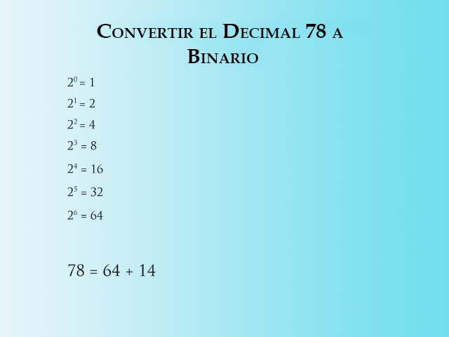 Converting 78 a Binario - Paso 1