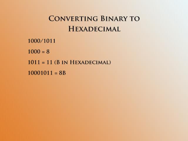 Converting binary to hex 2