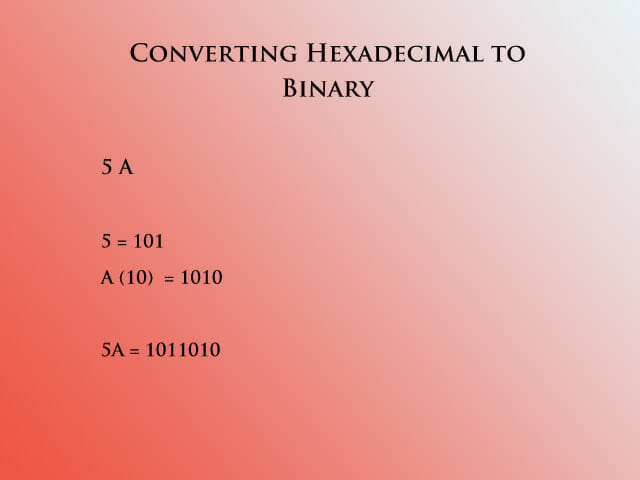 Hex to binary 1