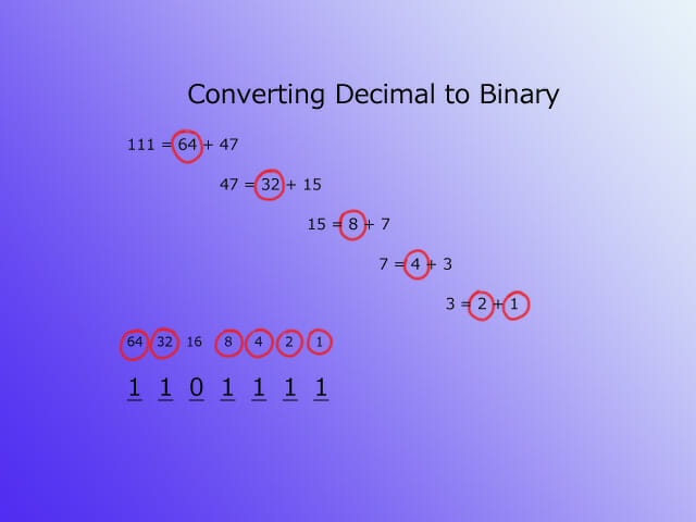 Text to binary - decimal step 2