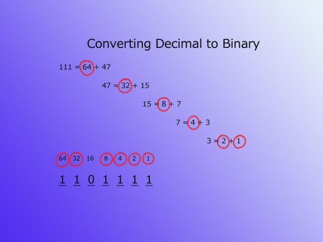 Text to binary - decimal step 2