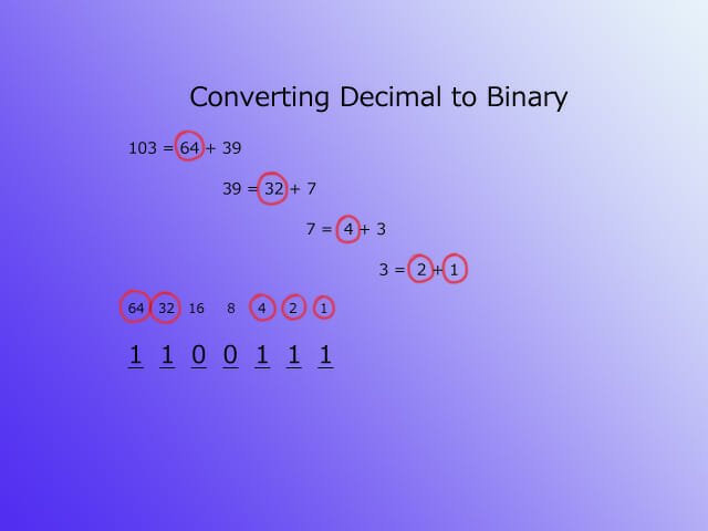 Text to binary - decimal step 3