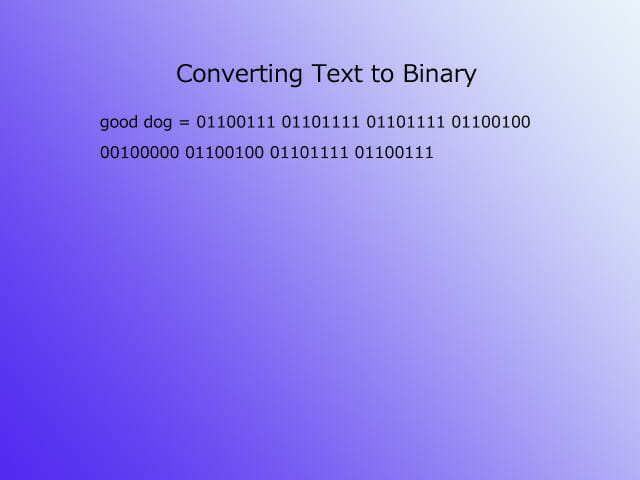 "Text to binary - ""good dog"""