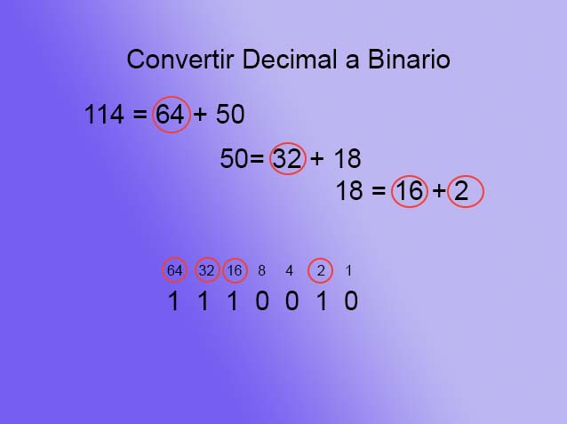 Texto a binario - decimal paso 3