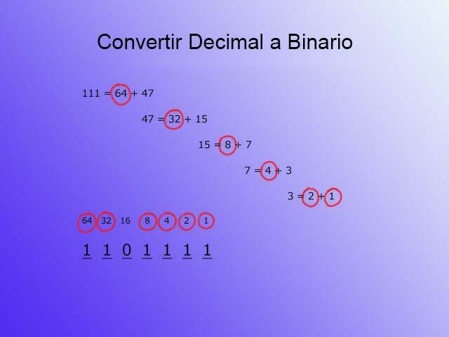 Texto a binario - decimal paso 4