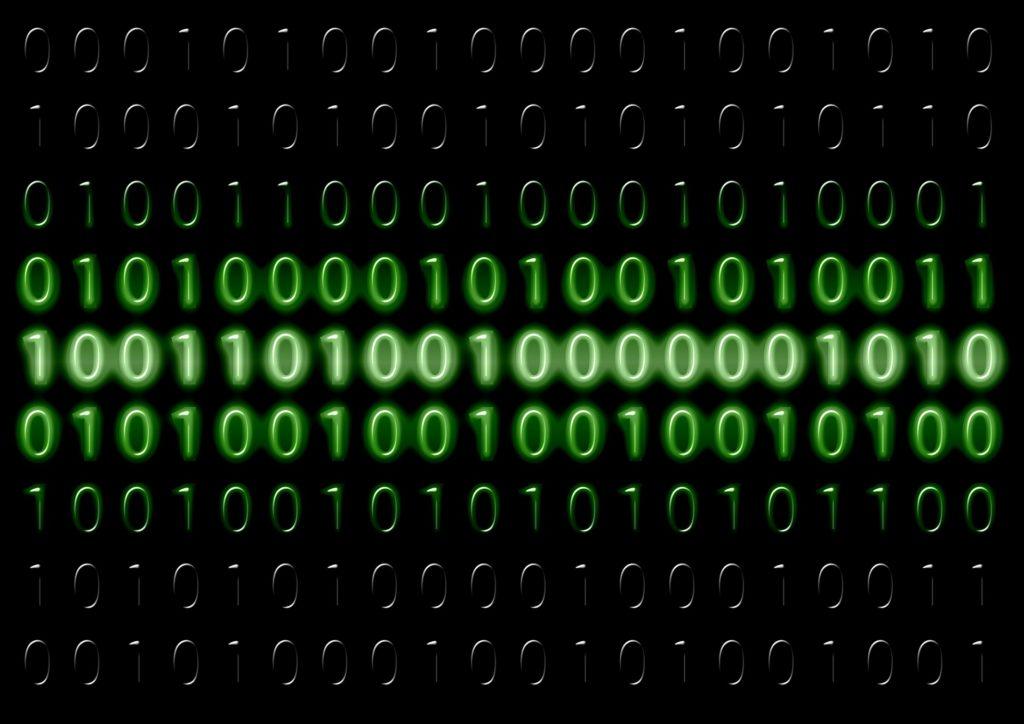 image showing green binary code