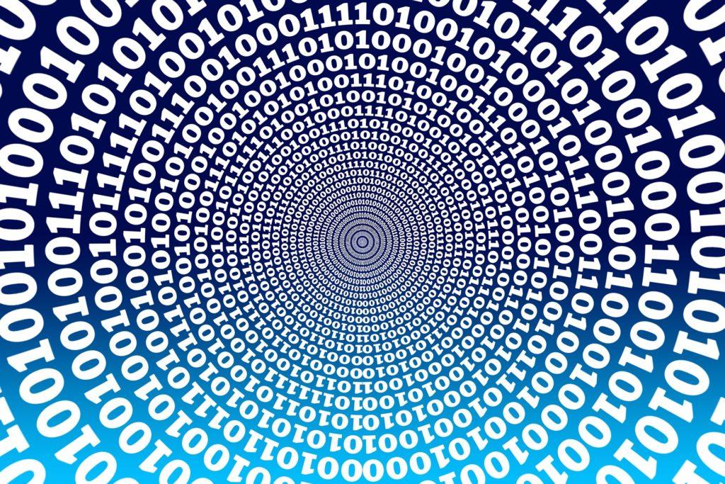 binary code in spiral
