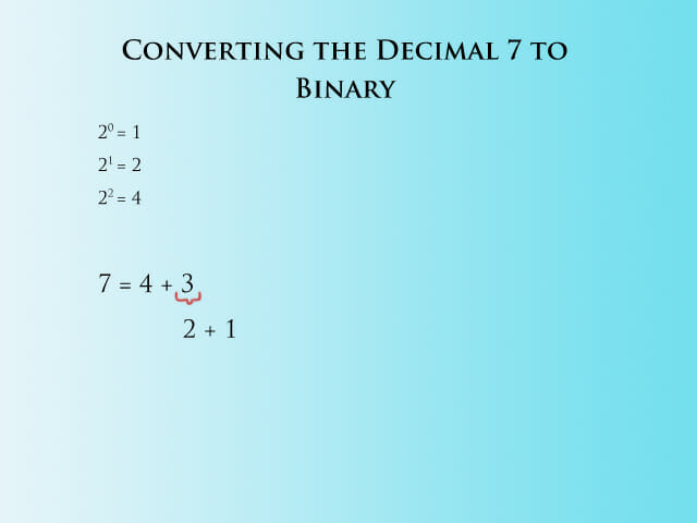 Converting 7 to Binary - Step 2