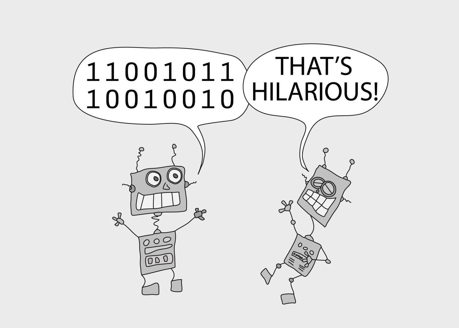 Robot telling a joke in binary code to another robot